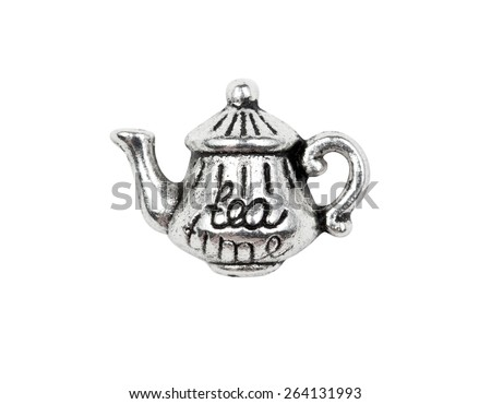 "Vintage metal teapot charm with the inscription ""tea"", isolated on white"