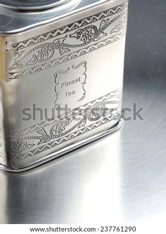 vintage metal tin can box - stock photo