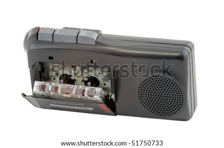 Vintage Micro Cassette Recorder Isolated on White Background - stock photo