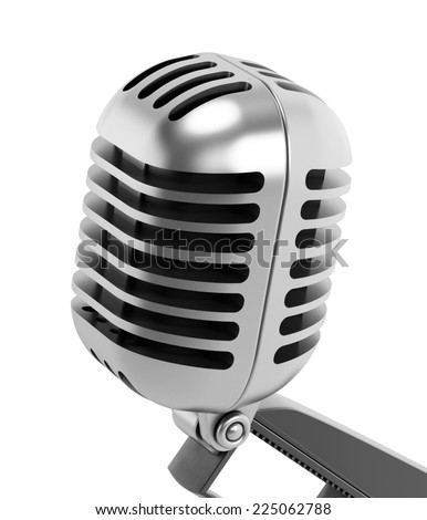 Vintage microphone isolated on white.