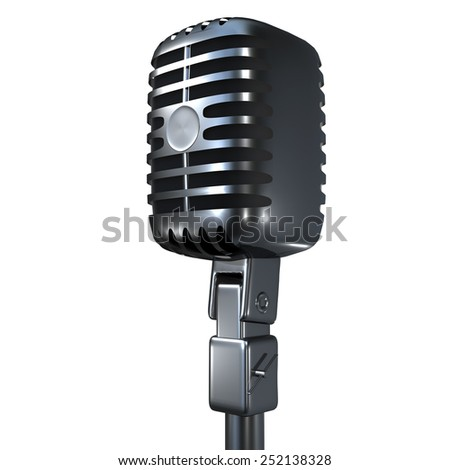 vintage microphone isolated on white background for adv or others purpose use - stock photo