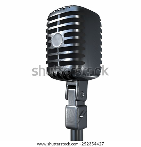 vintage microphone isolated on white background for adv or others purpose use