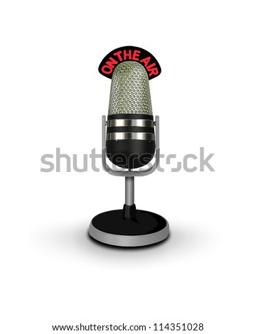 vintage microphone on air - stock photo