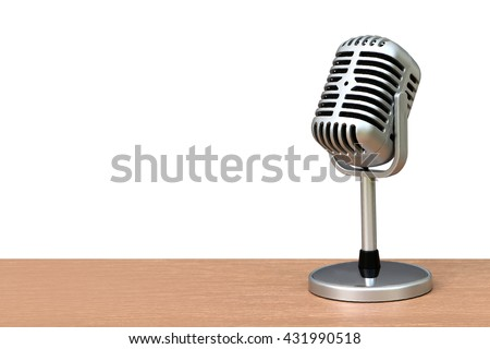 vintage microphone on desk ,isolate white background - stock photo