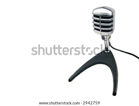 Vintage Microphone on Stand - stock photo