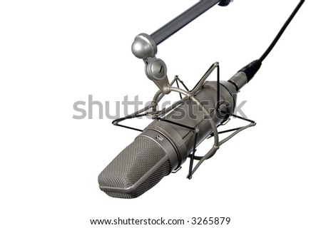 Vintage Microphone on stand isolated over a white background. - stock photo