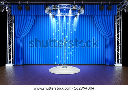 vintage microphone on Theater stage with blue curtains and spotlights Theatrical scene in the light of searchlights, the interior of the old theater  - stock photo
