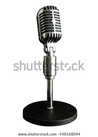 VINTAGE MICROPHONE WHITE BACKGROUND