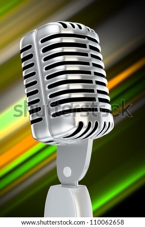 vintage microphone with blurry background color stripes - stock photo