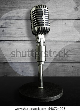 VINTAGE MICROPHONE WITH WHITE WASH ON TIMBER WALL