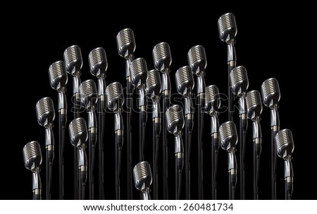 Vintage microphones background - stock photo