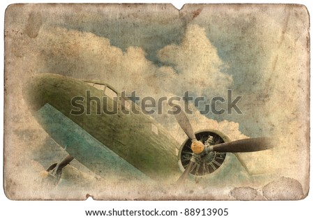 Vintage military postcard isolated on white background, ww2 old cargo plane - stock photo