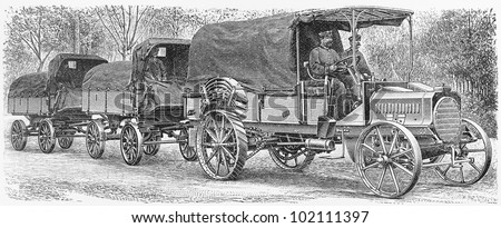 Vintage Military truck with trailer from the beginning of 20th century - Picture from Meyers Lexikon book (written in German language) published in 1908 Leipzig - Germany.