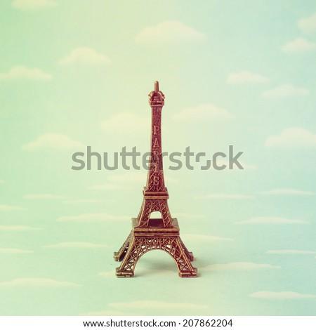 Vintage  Miniature Eiffel Tower - stock photo