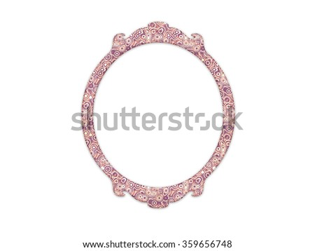 Vintage mirror frame with round shape and retro pattern isolated on white background - stock photo