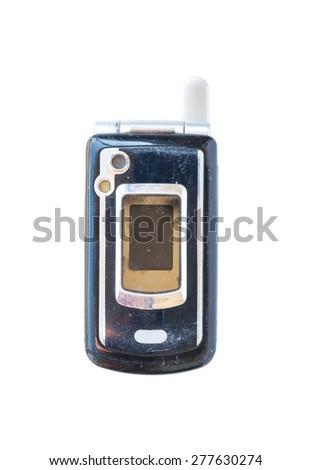 vintage mobile phone Isolated on white background. - stock photo