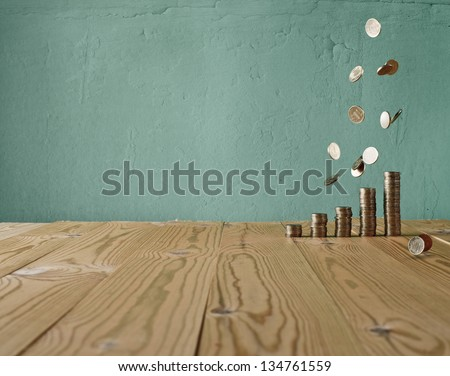 vintage money against the background of the old wall and wood table