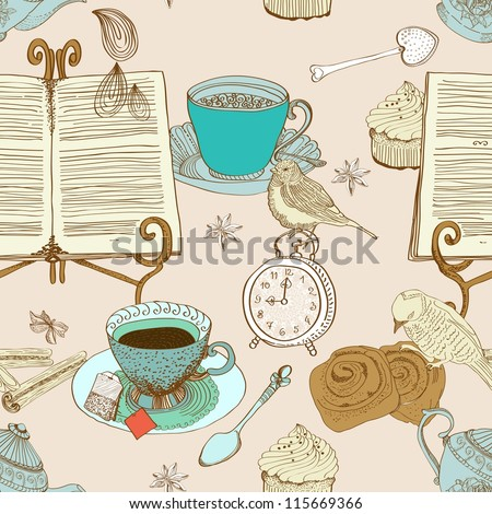 vintage morning tea background. seamless pattern for design, illustration
