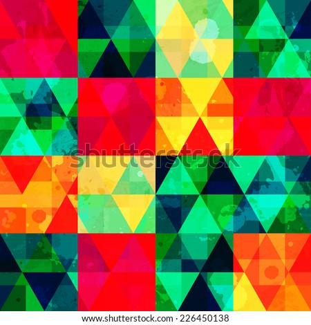 vintage mosaic seamless pattern with grunge effect (raster version) - stock photo