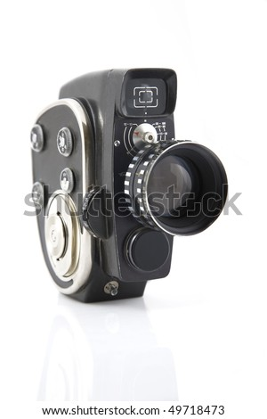 vintage Movie camera on a white background