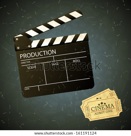 Vintage movie clapper board and admit one ticket. Illustration.