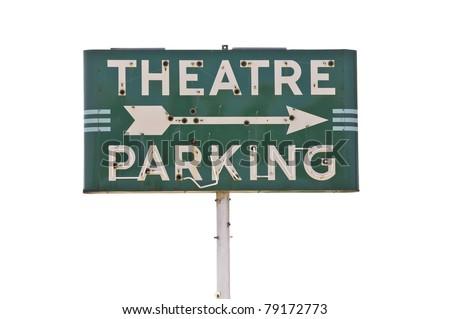 Vintage movie theatre parking sign - stock photo