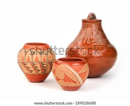 Vintage Native American Pueblo Pottery - stock photo
