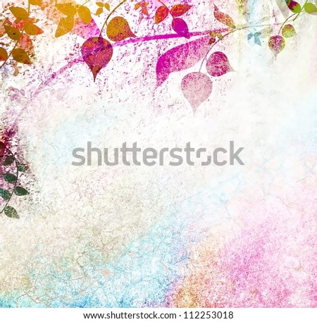 Vintage nature and leaves with used background - stock photo