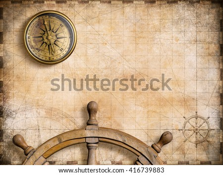 vintage nautical map with compass background 3d illustration