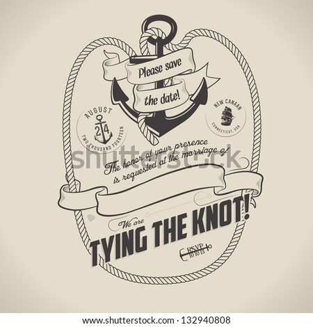 Vintage nautical themed wedding invitation with place for text - stock photo