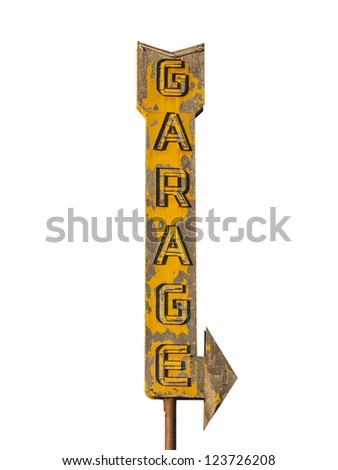 Vintage neon garage arrow sign isolated with clipping path. - stock photo