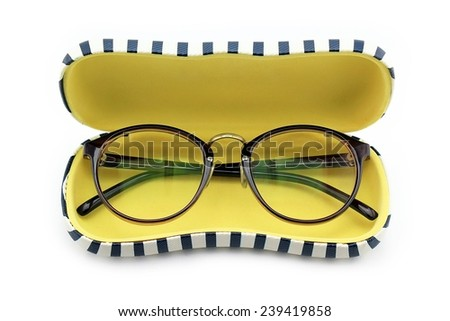 Vintage nerd glasses in the leather case over white, clipping path, Classic eyeglasses, Vintage eyeglasses. - stock photo