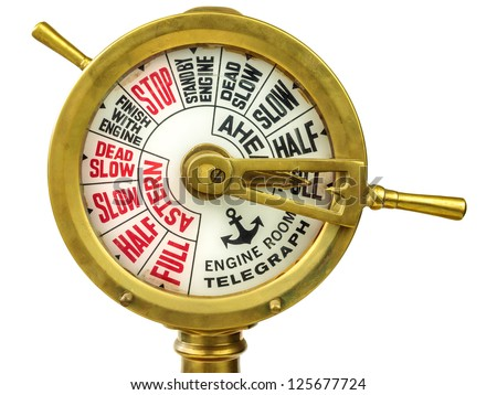 Vintage nineteenth century engine room telegraph isolated on a white background - stock photo