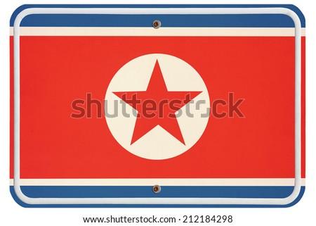 Vintage North Korea metal sign - stock photo