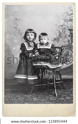 vintage nostalgic portrait of two cute kids, Berlin ca. 1910 - stock photo