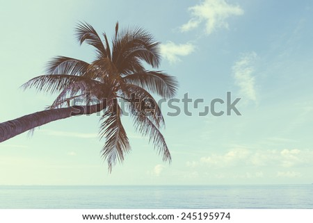 Vintage nostalgic stylized palm tree on tropical shore with blue sky and calm ocean - stock photo