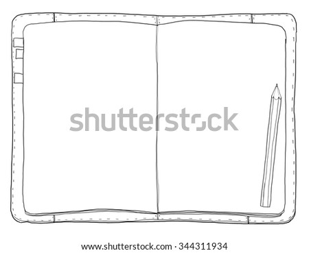 vintage notebook and  pencil line art painting cute illustration - stock photo