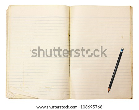 Vintage notebook with line and pencil on white background (Clipping paths) - stock photo
