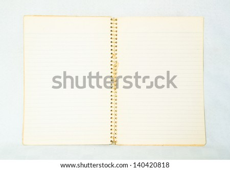 Vintage notebook with the line heel on white background
