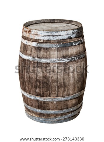 Vintage oak cask isolated on white background. - stock photo