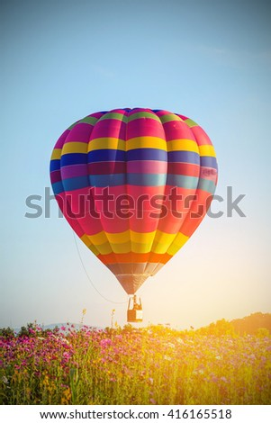 vintage of air color balloon in blue sky - stock photo