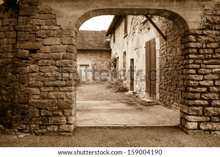 Vintage of an medieval village - stock photo