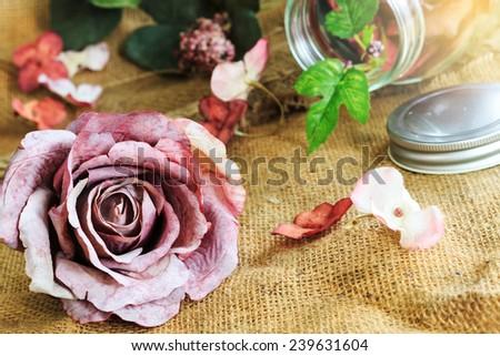 vintage of artificial flowers - stock photo