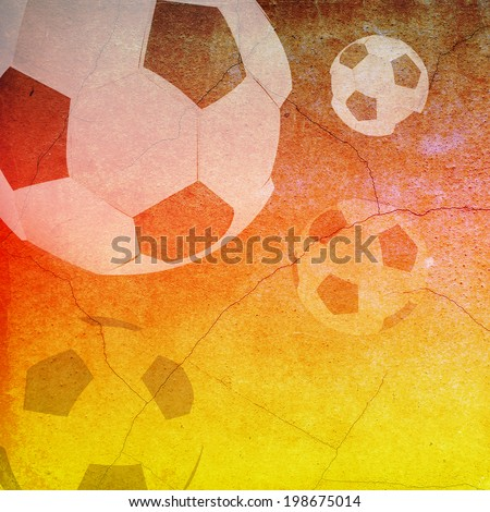 Vintage of German flag and soccer ball background - stock photo