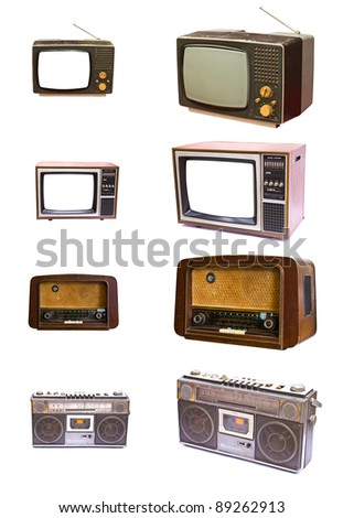 Vintage of  radio and TV devices isolated on white background - stock photo