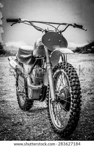 Vintage off-road motorbike - stock photo