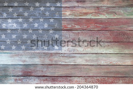 Vintage old American flag painted on the side of a barn - stock photo