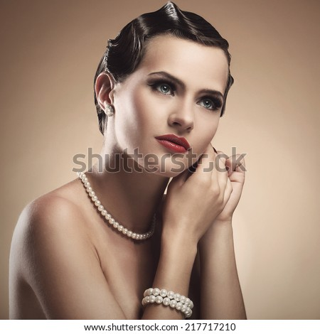Vintage, old. Attractive girl with with red lipstick - stock photo