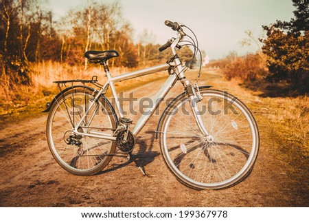 Vintage old bicycle in  field. - stock photo