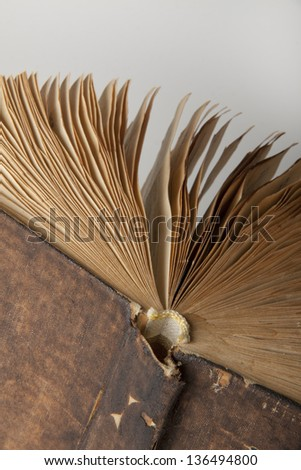 Vintage old book on gray background - stock photo